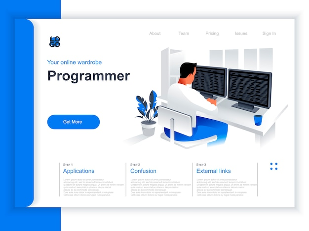 Software development isometric landing page. programmer working with computer in office situation. web application programming and testing, frontend and backend development perspective flat design.