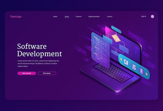Software development isometric landing page. website or program coding cross platform, algorithm programming languages interface on computer screen, technology process, app creation 3d banner