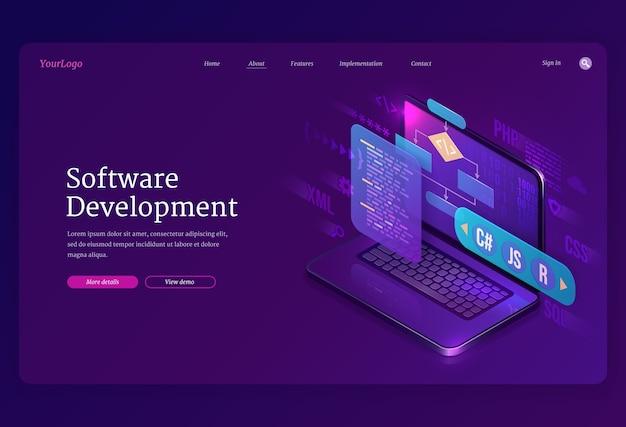 Pagina di destinazione isometrica di sviluppo software. piattaforma multipla di codifica di siti web o programmi, interfaccia con linguaggi di programmazione di algoritmi sullo schermo del computer, processo tecnologico, banner 3d per la creazione di app