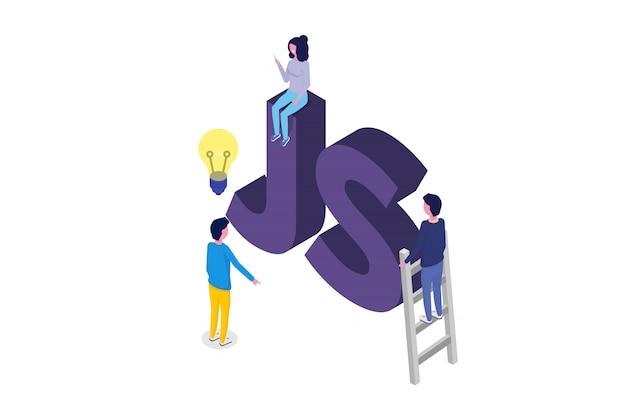 ソフトウェア開発等尺性、プログラマが働いています。ビッグデータ処理。ベクトルイラスト。