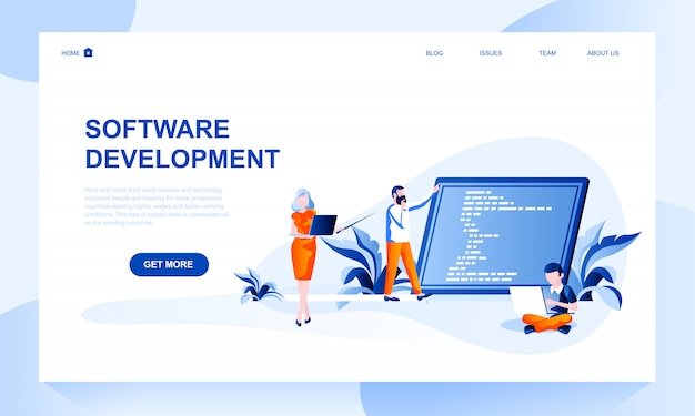 Software development landing page template with header