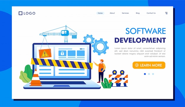 Software development landing page website