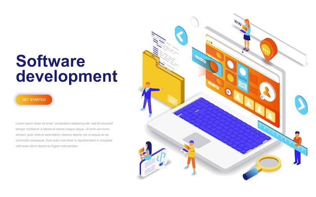 소프트웨어 개발 현대적인 평면 디자인 아이소 메트릭 개념. 프리미엄 벡터