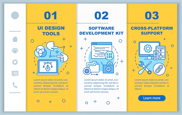 Software development onboarding mobile web pages template. responsive smartphone website interface idea with linear illustrations. webpage walkthrough step screens. color concept