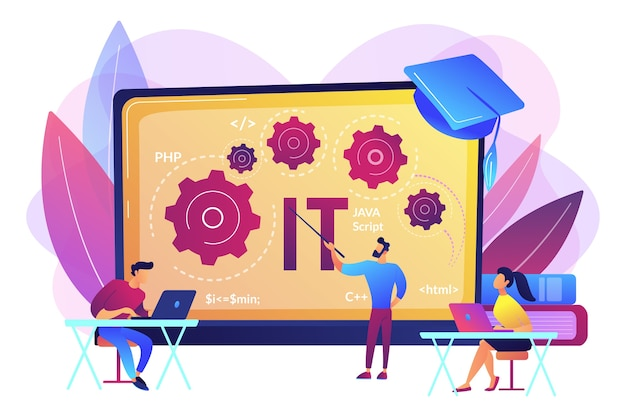 Разработка программного обеспечения. программирование, обучение кодированию. курсы по информационным технологиям, ит-курсы для всех уровней, компьютерная техника и концепция курса высоких технологий.