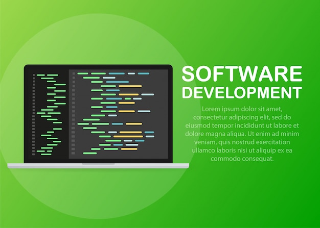 Software development, programming, coding vector concept.