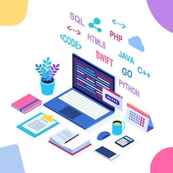 ソフトウェア開発、プログラミング言語、コーディング。デジタル技術。等尺性のラップトップ、白い背景の上のwebアプリケーションとコンピューター。
