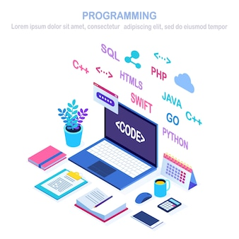Software development, programming language, coding.  isometric laptop, computer with digital application