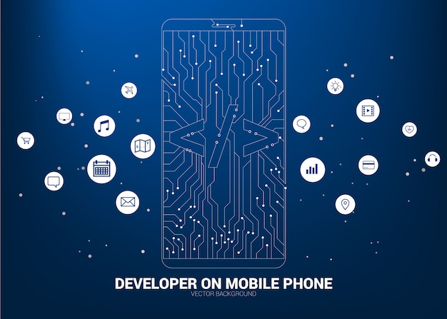Software development programming mobile phone with circuit line background
