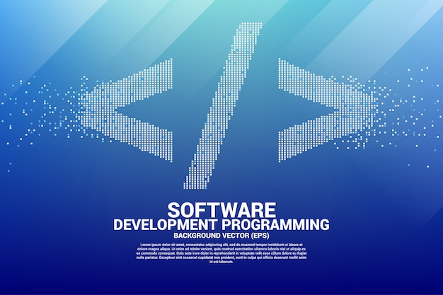 Software development programming tag icon with square dot pixel.