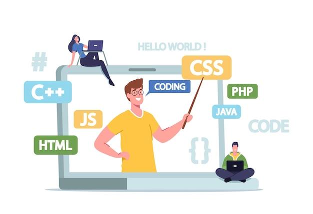 ソフトウェア開発の勉強。家庭教師は、巨大なラップトップモニターからコースをプログラミングする学生プログラマーに説明します。オンラインウェビナー中の小さなキャラクターの研究。漫画の人々のベクトル図