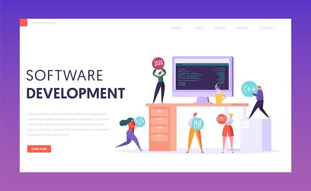 Software development technology teamwork stack landing page.