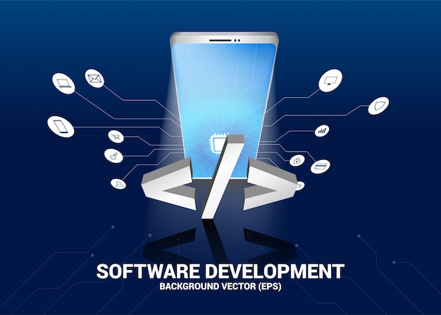 Software development text and mobile phone 3d with circuit line graphic