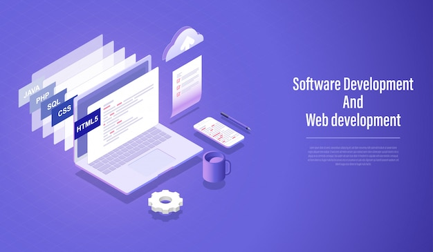Software development and web development isometric concept