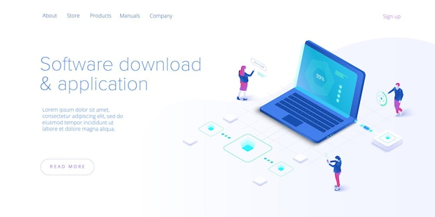 Software download and application isometric  illustration. program engeneers working on web app development, coding and testing. website banner layout template.