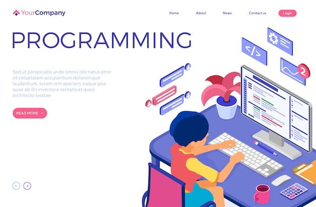 ソフトウェアエンジニア開発プログラム。女性はコンピューターのテーブルとプログラムに座っています。オンラインチャットウェブサイト用のプログラムを作成する開発者。等尺性文字のランディングページ。図