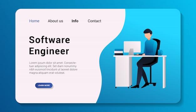 Software engineer landing page flat design   illustration