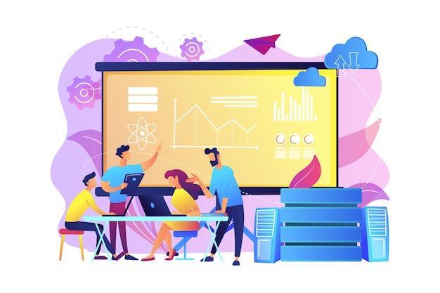 프로젝트를 진행하는 소프트웨어 엔지니어, 통계 학자, 시각화 도우미 및 분석가. 빅 데이터 컨퍼런스, 빅 데이터 프레젠테이션, 데이터 과학 개념. 밝고 활기찬 보라색 고립 된 그림