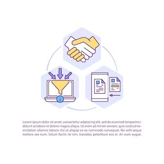 テキスト付きの契約管理コンセプトアイコンのソフトウェア。契約の作成、実行、署名。 pptページテンプレート。パンフレット、雑誌、線形イラストと小冊子のデザイン要素