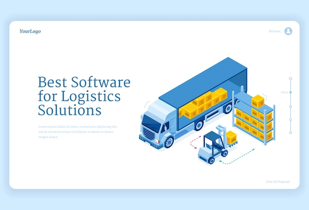 Software for logistics solutions isometric landing page