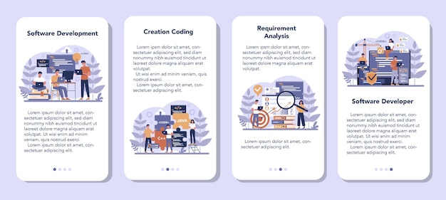 Software mobile application banner set. idea of programming and coding, system development. digital technology. software developing company writing code.