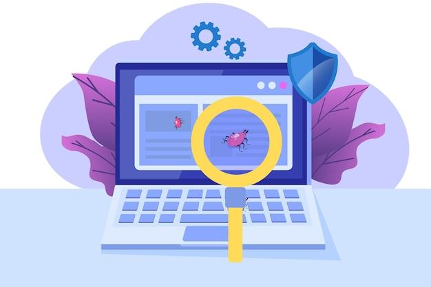 ソフトウェアまたはアプリケーションのフラットな概念。開発プロセスのデバッグ。