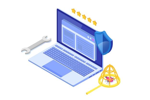 ソフトウェアまたはアプリケーションのテストアイソメトリックコンセプト。開発プロセスのデバッグ。