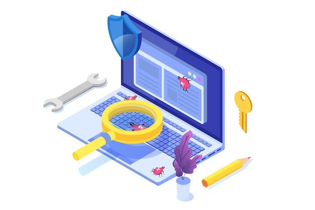 Изометрическая концепция тестирования программного обеспечения или приложений. отладка процесса разработки.