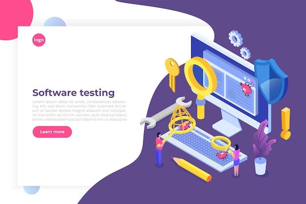 소프트웨어 또는 애플리케이션 테스트 아이소 메트릭 개념. 개발 프로세스 디버깅.