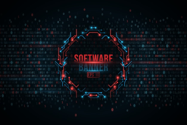 Software programming binary code and computer circuit board banner, cyber security.