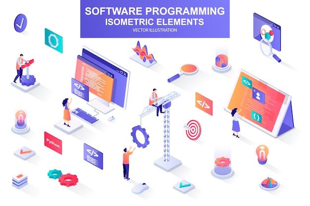 Пакет программирования программного обеспечения изометрических элементов иллюстрации