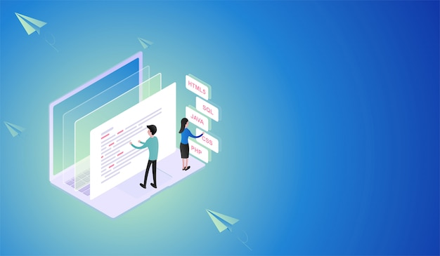 Software and programming development isometric concept