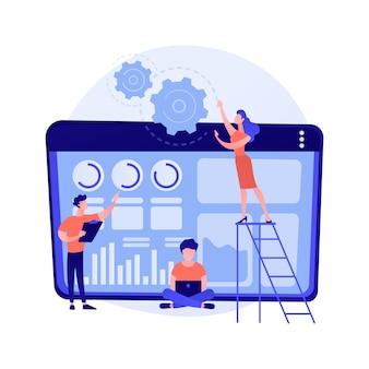 소프트웨어 혁신, 앱 개발, 프로그래밍. 컴퓨터 프로그램 현대화 및 혁신. 프로그래머 팀 만화 캐릭터.