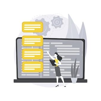 소프트웨어 요구 사항 설명. 소프트웨어 시스템 설명, 애자일 도구, 비즈니스 분석, 프로젝트 개발 사양, 문서. 프리미엄 벡터