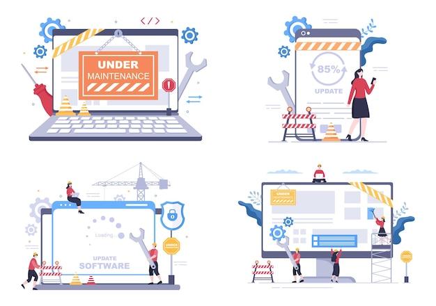 Software system under maintenance vector illustration. error website, development and update webpages on mobile application for poster template