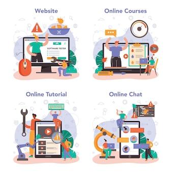 ソフトウェアテスターのオンラインサービスまたはプラットフォームセット。アプリケーションまたはwebサイトのコードテスト。ソフトウェア開発とデバッグ。オンラインコース、チュートリアル、チャット、ウェブサイト。フラットベクトルイラスト