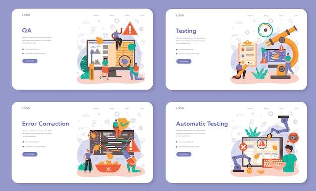 Набор веб-баннера или целевой страницы для тестера программного обеспечения. тестирование кода приложения или веб-сайта. разработка и отладка программного обеспечения. it-специалист ищет ошибки. изолированные плоские векторные иллюстрации
