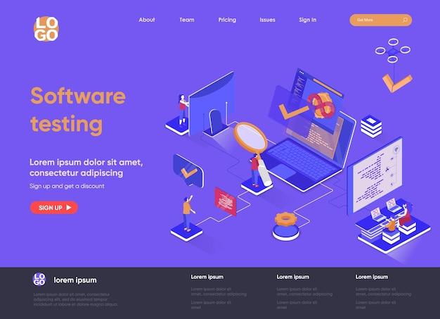 사람들이 문자로 3d 아이소 메트릭 방문 페이지 웹 사이트 그림을 테스트하는 소프트웨어