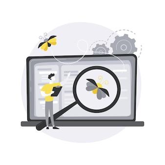 Иллюстрация абстрактной концепции тестирования программного обеспечения. Premium векторы