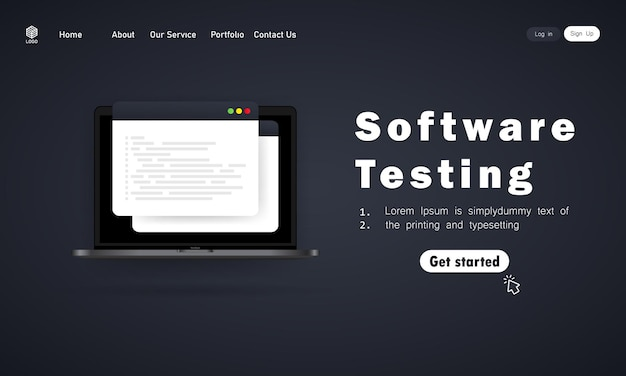 Баннер тестирования программного обеспечения или разработка, программирование, кодирование на иллюстрации ноутбука.