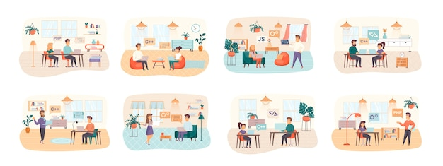 Software testing bundle of scenes with flat people characters situation Premium Vector