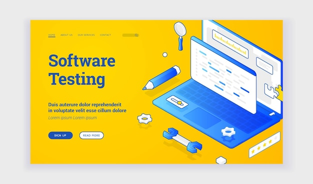 Software testing. contemporary elements of laptop and tools for web page offering information about modern software testing. isometric web banner, landing page template