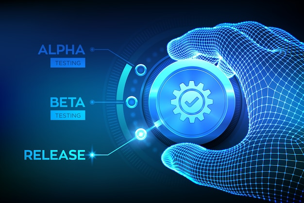 Концепция инженерного тестирования программного обеспечения. тестирование alpha beta release. каркасная рука, повернув ручку процесса тестирования и выбрав режим выпуска продукта.