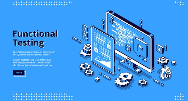 Software testing isometric banner, functional test