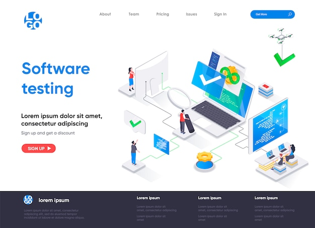 Software testing isometric landing page template