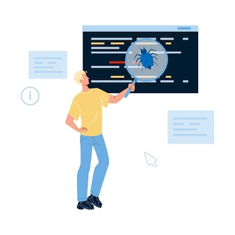 Software testing program on bug and errors vector. software code test service, man it worker holding magnifier searching and finding application digital problem. character flat cartoon illustration