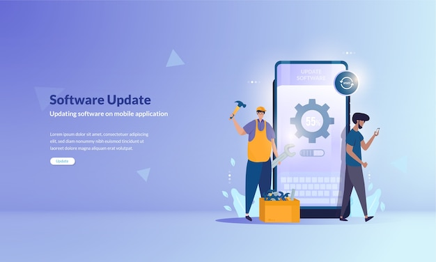 Software update or repairing mobile application software on baner concept