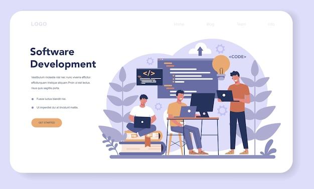 Программный веб-баннер или целевая страница. идея программирования и кодирования, разработка системы. цифровая технология. компания-разработчик программного обеспечения пишет код.