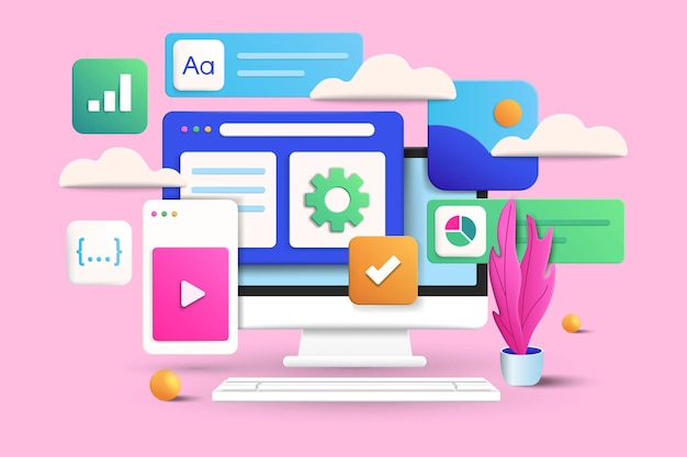 Software and web development concept on pink background