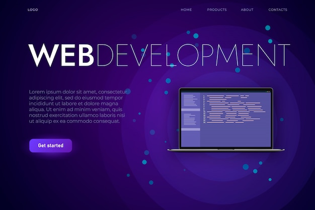 Software and web development landing page template. reslistic laptop with programming code, web app and desktop app development